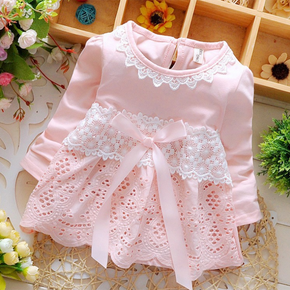 Solid Lace Decor Long-sleeve Baby Dress