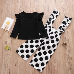 Baby / Toddler Solid Flutter-sleeve Top and Polka Dots Overalls Set