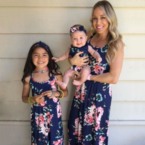 Dark Blue Floral Print Matching Maxi Sling Dresses