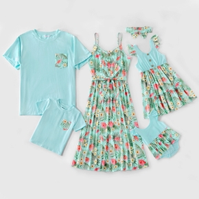 Floral Print Family Matching Light Blue Sets