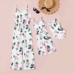 Mommy and Me Floral Print Sling Fitted Jumpsuits