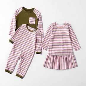 Mosaic Family Matching Sibling Color Block Stripe Top Dresses Romper for Boy - Girl - Baby