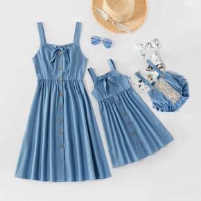 Solid Color Matching Blue Sling Midi Dresses