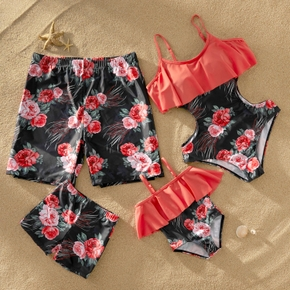 Flounce Floral Print Matching Family Swimsuits