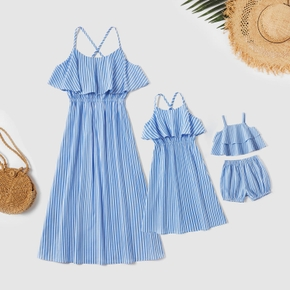 Blue and White Stripe Ruffle Shoulder Matching Sling Maxi Dresses