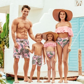 Summer Flounce Plant Print Matching Family Swimsuits