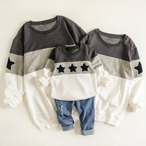 Family Look Round collar Stars Color block long sleeve Matching Tops