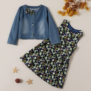 Kids Girl Bowknot Denim Coat and Flower Allover Dress Set