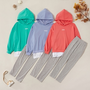 Sporty Solid Faux-two Hooded Sweatshirt and Pants Sets