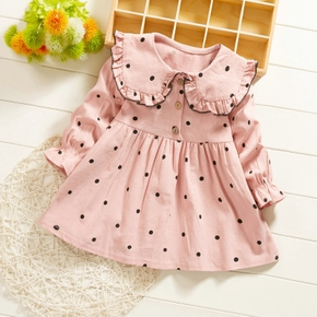 Baby / Toddler Doll Collar Polka Dots Dress