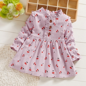 Baby / Toddler Cherry Allover Print Ruffled Collar Dress