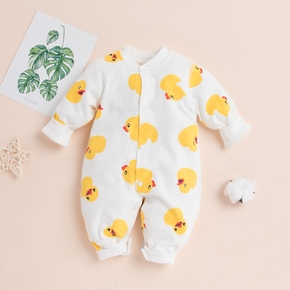 Duck Allover Long-sleeve Baby Jumpsuit