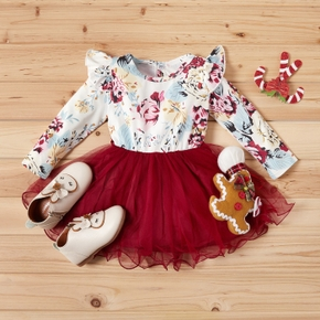 Baby / Toddler Girl Floral Flare Shoulder Splice Tulle Long-sleeve Dress