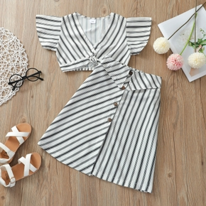 2-piece Toddler Girl Stripe Print Top and Skirt Set
