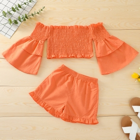 2-piece Toddler Girl Off Shoulder Bell sleeves Ruffled Solid Top and Elasticized Shorts Set
