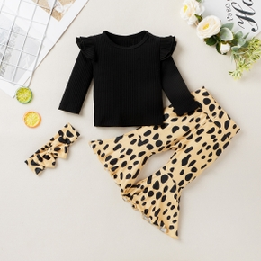 3pcs Baby Girl Long-sleeve Cotton Sweet Leopard Baby's Sets