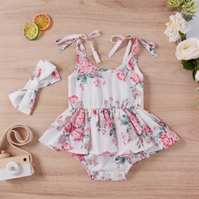 2pcs Ruffle Floral Print Strappy Baby Sets