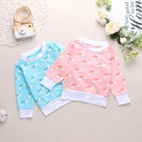 1pc Baby Girl Long-sleeve Cotton casual Rainbow Pullovers & Hoodies