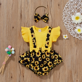 Ribbed 3pcs Leopard or Sunflower or Rainbow Print Flutter-sleeve Baby Set