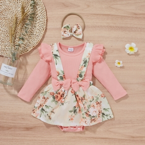 Ribbed 2pcs Floral Print Faux-two Design Long-sleeve Pink Baby Romper