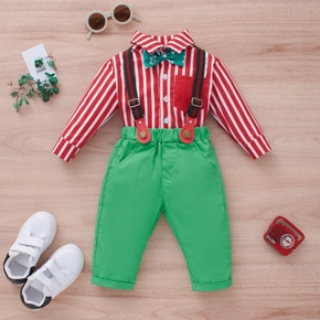 Baby 2pcs Bowtie Red Stripe Long-sleeve Shirt and Green Suspender Pants Set