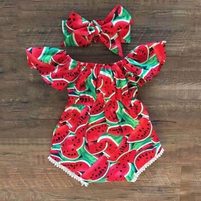 Baby Girls Watermelon Print Bodysuit and Headband