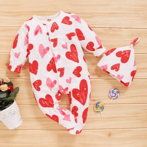 2-piece Baby Heart Allover Jumpsuit with Hat Set