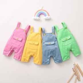 Baby Pocket Solid Strappy Overalls Jumpsuit