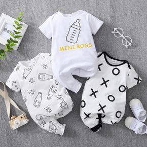 Baby Short-sleeve Casual Letter Jumpsuit