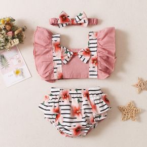 3pcs Solid and Striped Floral Baby Set