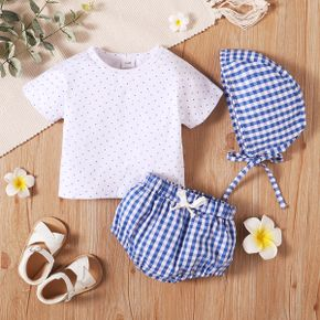 100% Cotton 3pcs Blue and White Dots and Plaid Baby Set