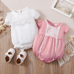 Solid Lace or Mesh Decor Puff-sleeve or Flutter-sleeve Baby Romper