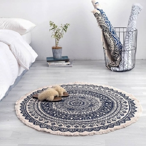 Retro Round Carpet For Living Room Bedroom Cotton Linen Tassels Rug Yarn Dyed Tapestry Mat Home Decoration