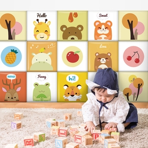 3D Wall Stickers Children's Room Wall Decoration Anti-collision Soft Pack Wall Stickers Self-adhesive Wall Foam Board