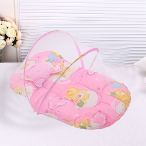 Brand New Portable Foldable Baby Kids Infant Bed Dot Zipper Mosquito Net Tent Crib Sleeping Cushion Collapsible Portable