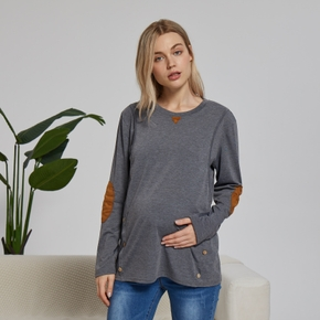 Casual Patched Long-sleeve Nursing Top