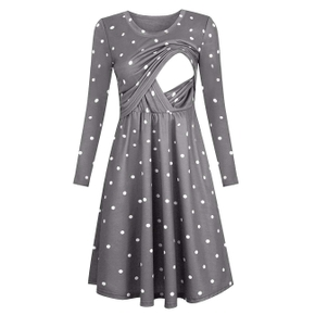 Casual Dotted Long-sleeve Nursing Dress