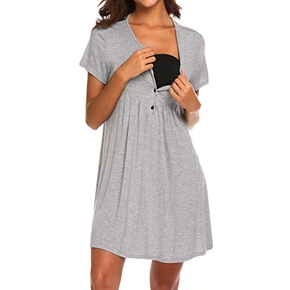 Casual Solid Short-sleeve Nursing Dress