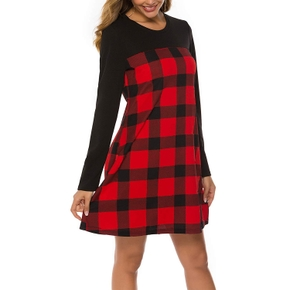 Maternity Round collar Plaid Color block Short A Long-sleeve Nursing Dress