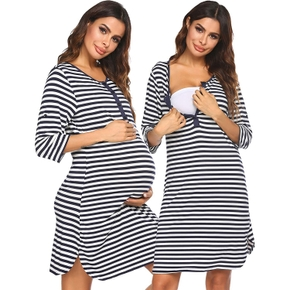 Maternity casual Stripes Print Robes & Nightgowns
