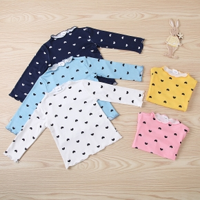 Baby Girl casual Heart-shaped Sweaters Cotton Fashion Long Sleeve Infant Clothing Outfits