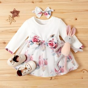 2-piece Baby / Toddler Girl Floral Bowknot Decor Long-sleeve Tulle Dress with Headband Set (No Shoes )