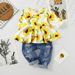 2pcs Baby's Clothing-old Girl Sunflower Print Fashionable Cotton Baby's Sets