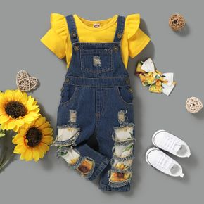 3-piece Baby / Toddler Girl Solid Top and Sunflower Denim Suspender Pants with Headband Set