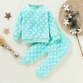 2-piece Baby / Toddler Girl Polka Dots Fluffy Top and Pants Set