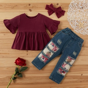 3-piece Baby / Toddler Girl Casual Solid Top and Floral Jeans with Headband Set