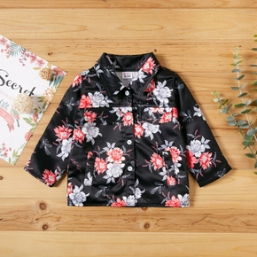 1pc Baby Girl Long-sleeve casual Floral Coat & Jacket