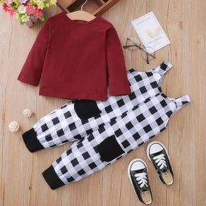 2pcs Baby Long-sleeve Cotton Unisex Party Plaid Baby's Sets