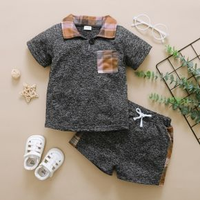 2-piece Baby/Toddler Casual Plaid Top and Shorts Set