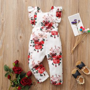 Baby Girl Floral straight Flutter-sleeve Rose Jumpsuits